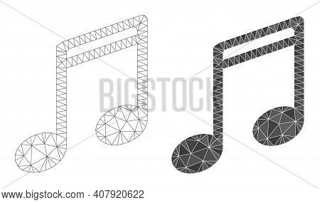 Mesh Music Notes Polygonal Icon Illustrations, Filled And Carcass Versions. Vector Wire Frame Music