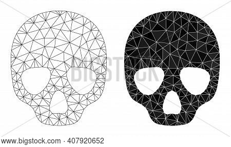 Mesh Skull Polygonal Icon Illustrations, Filled And Carcass Versions. Vector Net Skull Icons. Wire C