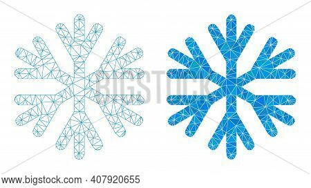 Mesh Snow Flake Polygonal Icon Illustrations, Filled And Carcass Versions. Vector Wire Frame Snow Fl