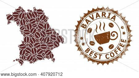 Coffee Mosaic Map Of Bavaria Land And Distress Stamp. Vector Map Of Bavaria Land Collage Is Composed