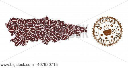 Coffee Mosaic Map Of Asturias Province And Distress Stamp. Vector Map Of Asturias Province Collage I
