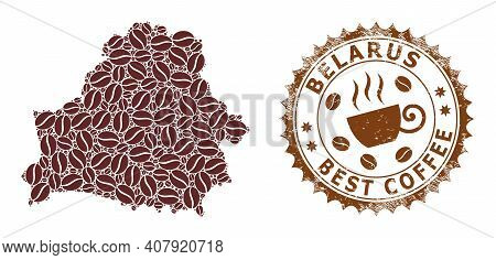 Coffee Mosaic Map Of Belarus And Grunge Stamp Seal. Vector Map Of Belarus Collage Is Created From Co