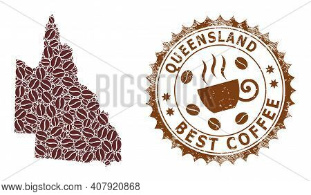 Coffee Mosaic Map Of Australian Queensland And Grunge Stamp Seal. Vector Map Of Australian Queenslan