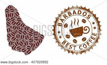 Coffee Mosaic Map Of Barbados And Rubber Stamp. Vector Map Of Barbados Collage Is Formed Of Coffee S