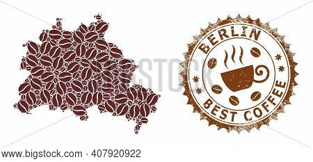 Coffee Mosaic Map Of Berlin City And Grunge Mark. Vector Map Of Berlin City Collage Is Created With