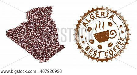 Coffee Mosaic Map Of Algeria And Grunge Stamp Seal. Vector Map Of Algeria Collage Is Formed From Cof