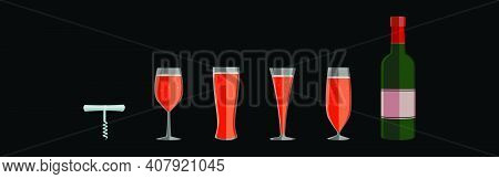 Set Of Wine Fizz Cartoon Icon Design Template With Various Models. Modern Vector Illustration Isolat