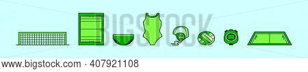 Set Of Water Polo Sports Cartoon Icon Design Template With Various Models. Modern Vector Illustratio