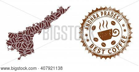 Coffee Mosaic Map Of Andhra Pradesh State And Unclean Stamp. Vector Map Of Andhra Pradesh State Coll