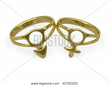 Wedding Rings With Male And Female Symbols