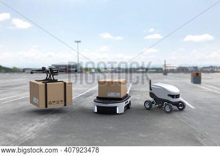 Autonomous Delivery Robot, Self-driving Robot, Delivery Drone, Business Air Transportation Concept.