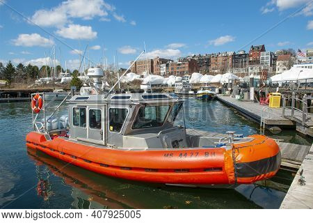 Boston - Apr. 6, 2019: East Boston Coast Guard 25-foot Defender Class Boat Docked At Pier In The Sta