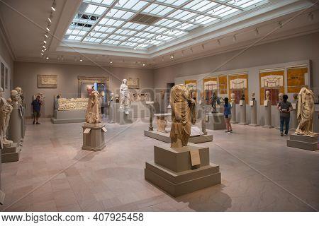 Boston - Jul. 12, 2019: Interior Of Museum Of Fine Arts On 465 Huntington Avenue, Boston, Massachuse