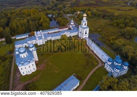 Above The Ancient St. George Monastery On A September Day (aerial Photography). Veliky Novgorod, Rus