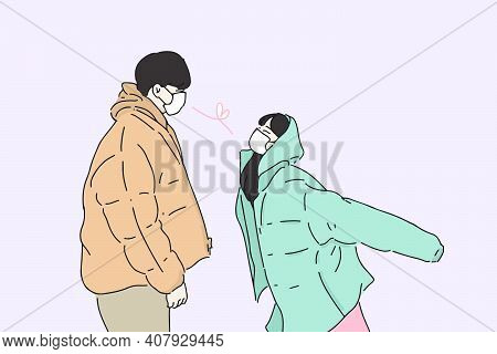 Hand-drawn Illustration Of Couple Wearing Face Mask Looking At Each Other. Romantic Couple Keep The