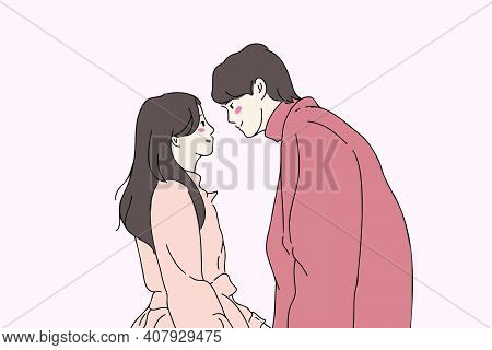 Romantic Couple In Love Looking At Each Other Before Kissing. Hand-drawn Style Vector Illustration O
