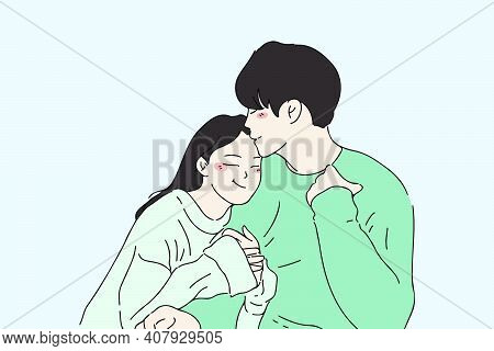 Couple In Love Embracing Together And Smile. Happy Family Of Husband And Wife Hand-drawn Vector Illu