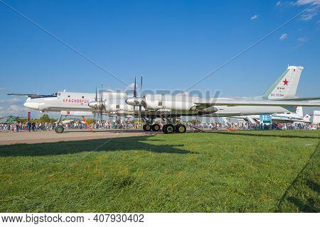 Zhukovsky, Russia - August 30, 2019: Soviet Strategic Bomber-missile Carrier Tu-95ms