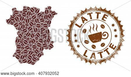 Coffee Mosaic Map Of Chechen Republic And Latte Grunge Stamp Seal. Vector Map Of Chechen Republic Co