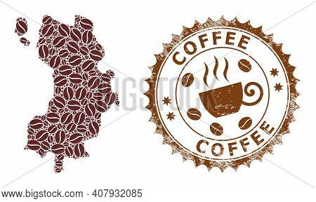 Coffee Mosaic Map Of Koh Tao And Coffee Distress Stamp. Vector Map Of Koh Tao Collage Is Designed Wi