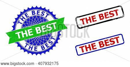 Bicolor The Best Seal Stamps. Blue And Green The Best Stamp With Sharp Rosette And Ribbon. Rounded R