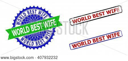 Bicolor World Best Wife Seal Stamps. Blue And Green World Best Wife Seal Stamp With Sharp Rosette An