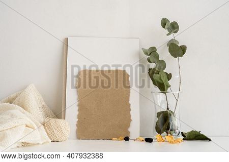 Fashion Stock Stationery Background On A White Background. An Empty Postcard For An Inscription And