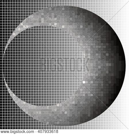 Crescent Halftone Squares Geometric Art Eps10 Vector Illustrarion. Background And The Moon At Differ