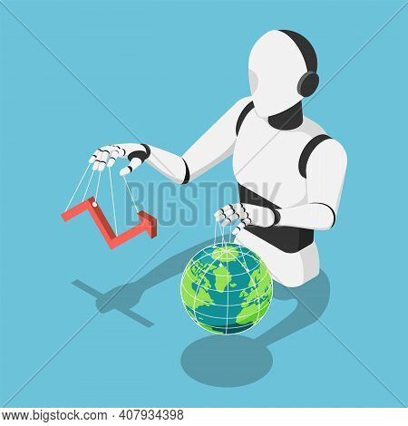 Flat 3d Isometric Ai Robot Controlling Market Financial Chart And The World Globe. Ai Artificial Int