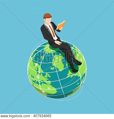 Flat 3d Isometric Businessman Sitting And Reading Book On The World. International And Global Educat