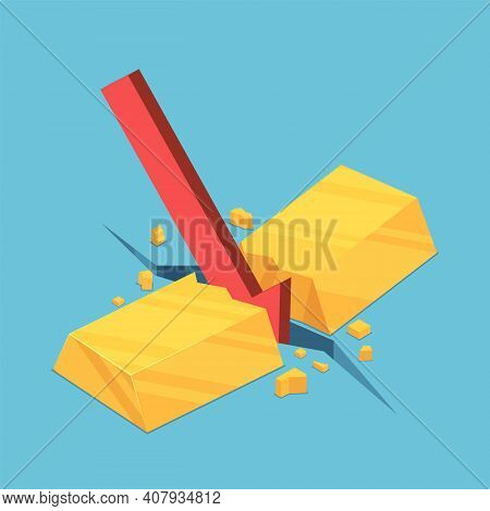 Flat 3d Isometric Gold Bar Cracked By Red Falling Arrow. Gold Market Crisis And Financial Concept.