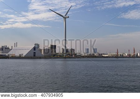The Photo Shows The View Of A Part Of The Industrial Port In Antwerp