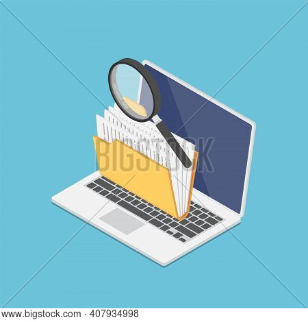 Flat 3d Isometric Laptop Computer With Folders And Magnifying Glass On Screen. Data Analysis And Ope