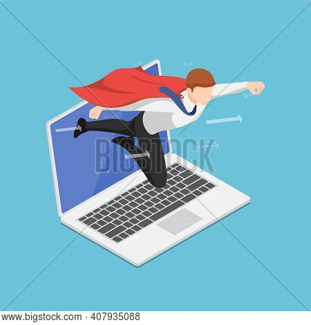 Flat 3d Isometric Super Businessman Flying Out From Laptop Screen. Business Startup And Online Marke