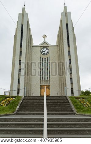 The Photo Shows The Church Of Akureyri In Portrait Format