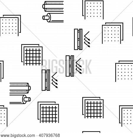 Insulation Building Vector Seamless Pattern Thin Line Illustration