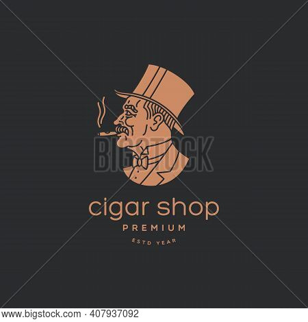 Old Gentleman In A Top Hat With A Cigar Logo Design Template For A Dark Background. Vector Illustrat