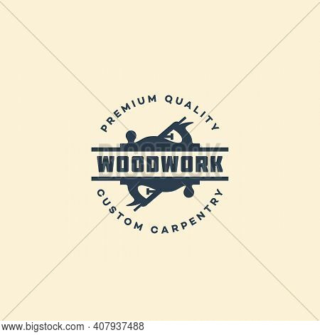 Logo Design Template With Two Hand Planes For Wood Shop, Carpentry, Woodworkers, Wood Working Indust