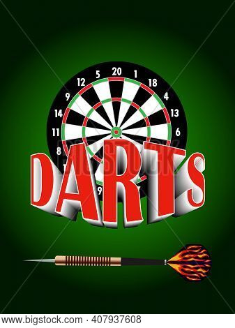 Vector Illustration Depicting A Board And A Dart With A Volumetric Inscription Darts For Advertising