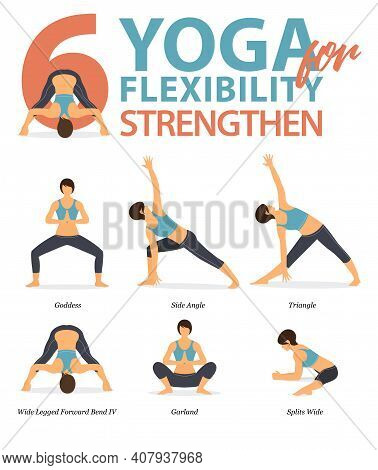 Infographic Of 6 Yoga Poses For Workout At Home In Concept Of Yoga For Flexibility Strengthen In Fla