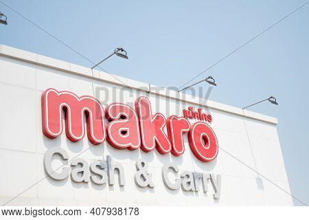 Samut Prakan, Thailand - February 15, 2021 : Makro Sign, Makro Is A Large Wholesale Store With Many