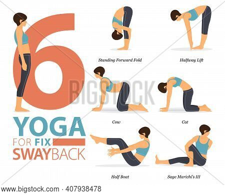 Infographic Of 6 Yoga Poses For Workout At Home In Concept Of Yoga For Fix Swayback In Flat Design.