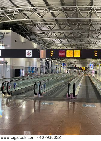 Zaventem, Brussels, Belgium, Febuary 13, 2021 - Brussels airport empty during the COVID-19 crisis
