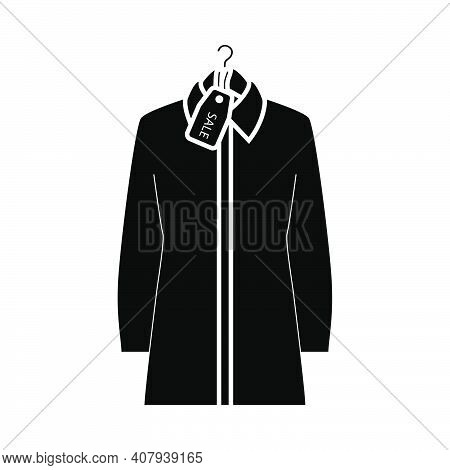 Blouse On Hanger With Sale Tag Icon. Black Stencil Design. Vector Illustration.