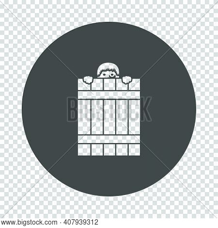 Criminal Peeping From Fence Icon. Subtract Stencil Design On Tranparency Grid. Vector Illustration.