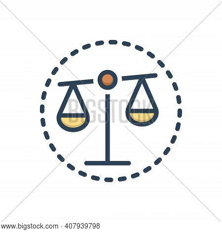 Color Illustration Icon For Bias Prejudice Partiality Balance Equilibrium Justice