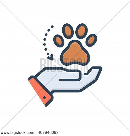 Color Illustration Icon For Adoption Acceptance Espousal Animal Veterinarian Paw Care