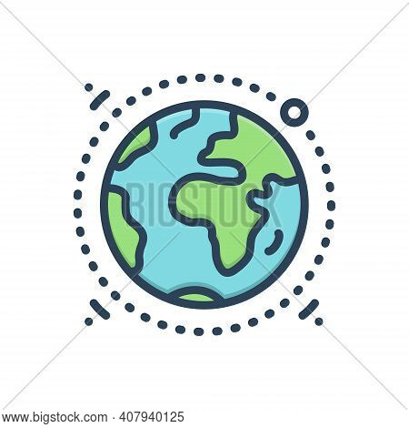 Color Illustration Icon For Geography Terra Earth Globe Ecology Discovery Environment