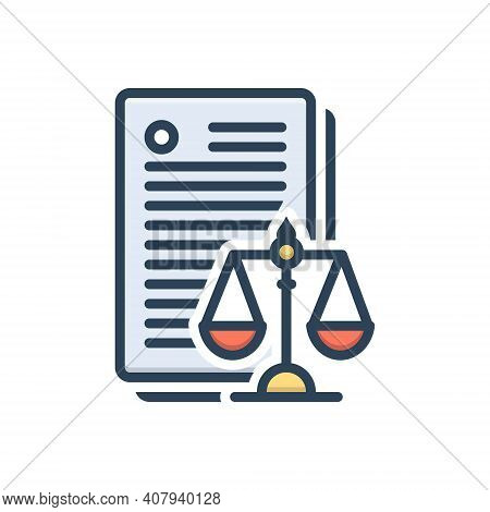 Color Illustration Icon For Laws Enactment Law-and-order Politics Justice Balance Verdict