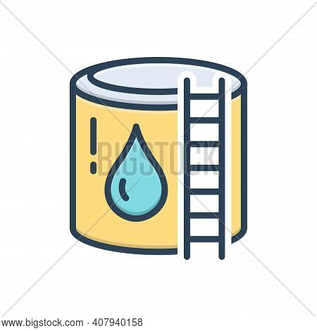 Color Illustration Icon For Reservoir Cistern Storage Water-reservoir Container Supply Refinery